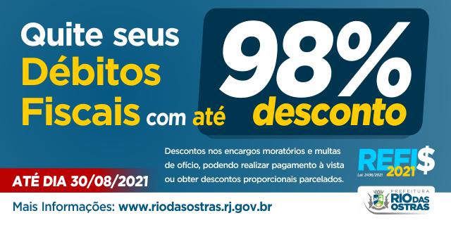 Quite seus débitos fiscais com até 98% de desconto - Prefeitura Municipal de Rio das Ostras